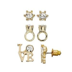 JUICY COUTURE Crystal Stud Ring Love Earrings Gold